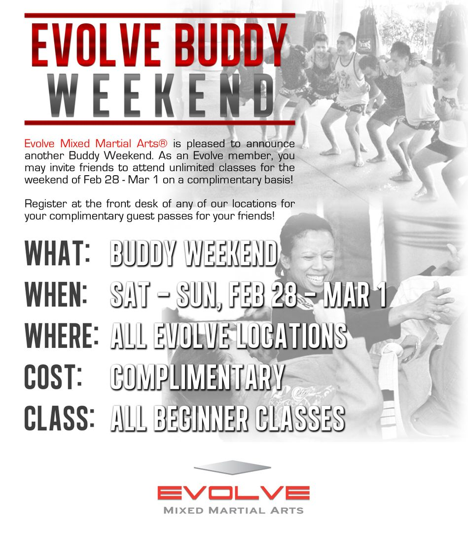 evolve buddy weekend