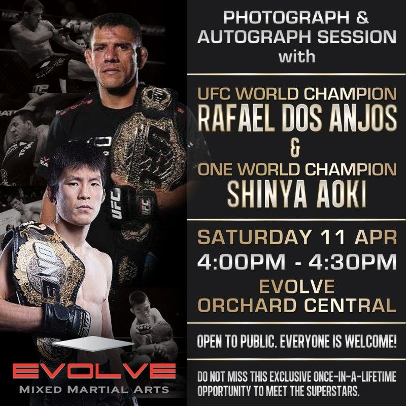 Meet Rafael Dos Anjos and Shinya Aoki at Evolve Orchard Central!