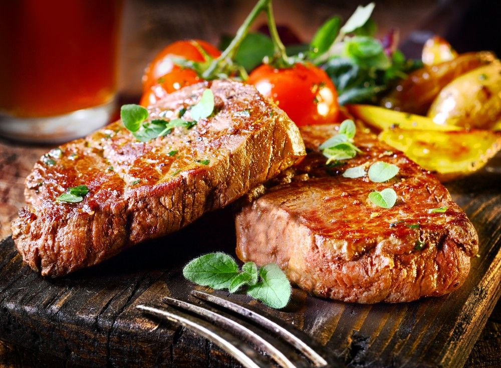 steak and baked sweet potato