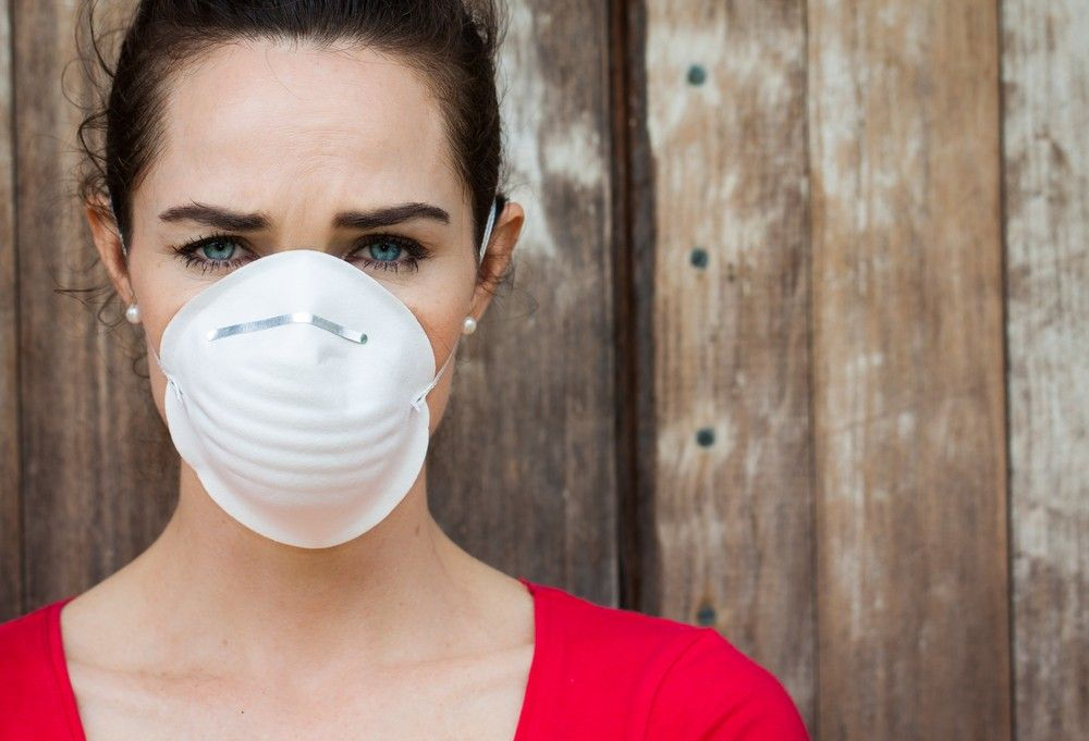 woman pollution mask