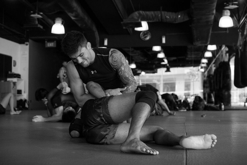 BJJ World Champion Bruno Pucci practices a kimura on Muay Thai World Champion and ONE Strawweight World Champion Dejdamrong Sor Amnuaysirichoke.