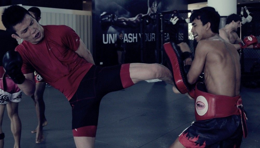 ONE Lightweight World Champion Shinya Aoki works on his striking at the Evolve MMA Fighters Program.