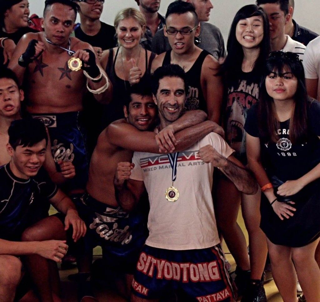 Irfan and some of the members of the Muay Thai competition team.