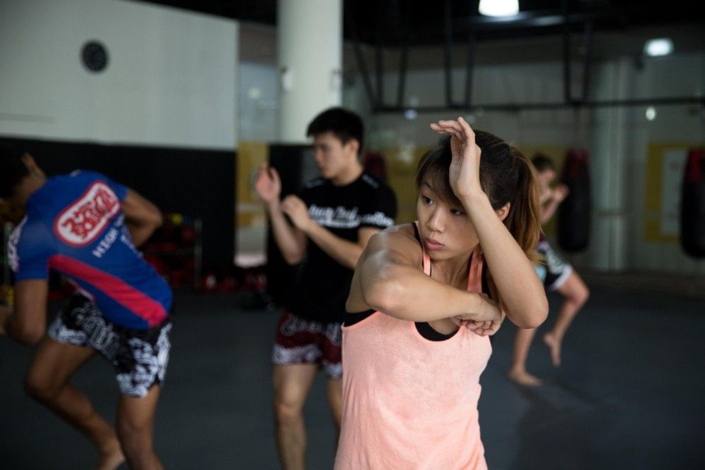 ONE Superstar Angela Lee trains hard at the Evolve MMA Fighters Program.