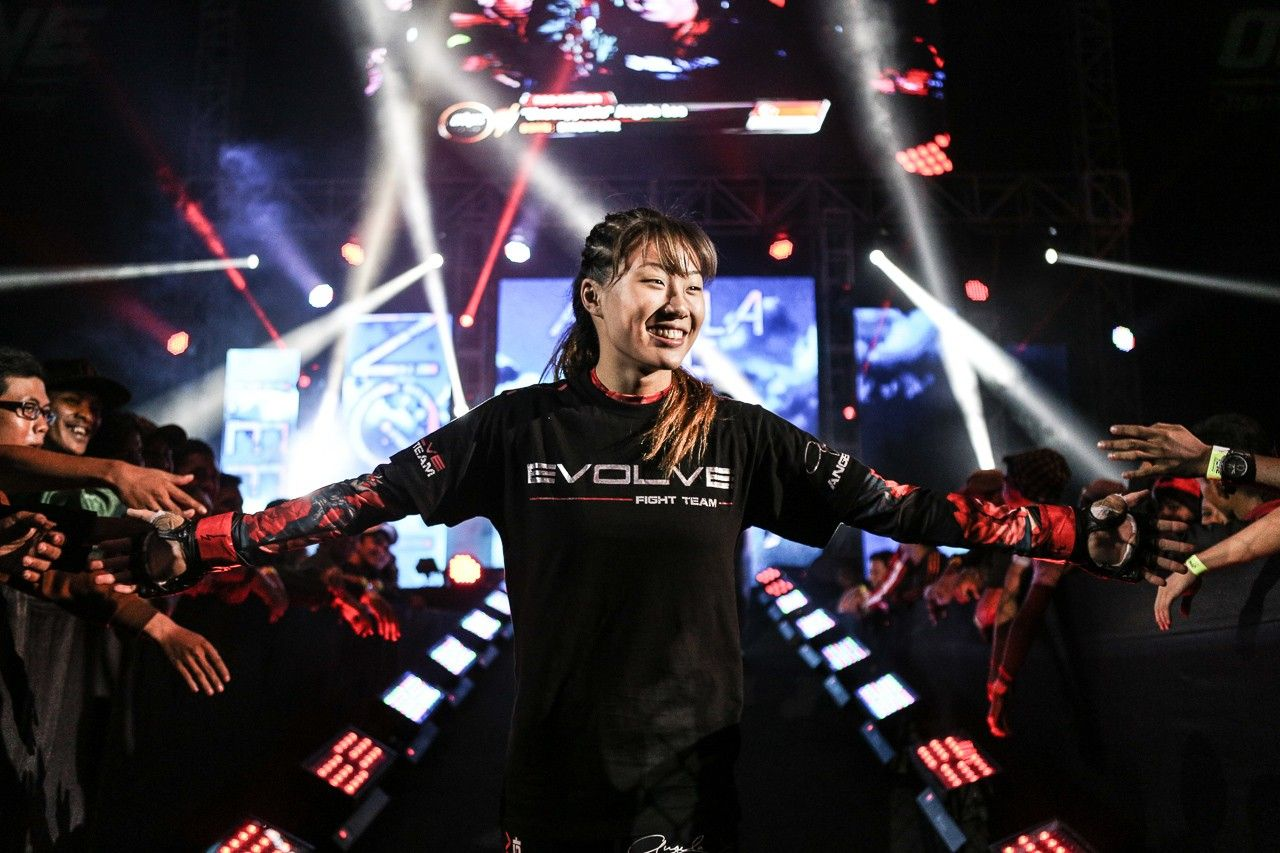 19-year-old Angela Lee walks out with thousands of screaming fans chanting her name at ONE: ODYSSEY OF CHAMPIONS in Jakarta on 27 Sep 2015. GLOBALMMANEWS / Photo Credit: ONE Championship