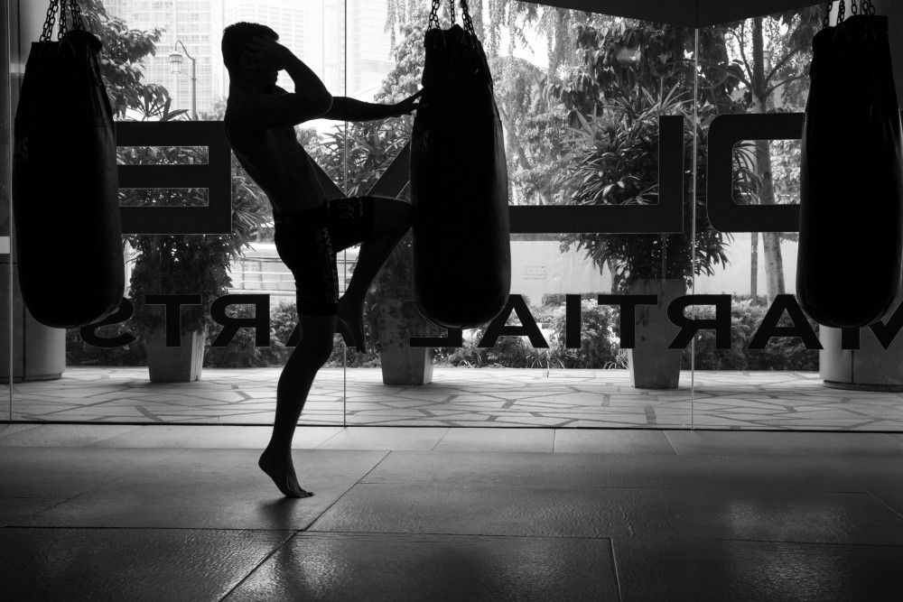 Training with a heavy bag increases your balance and strength.