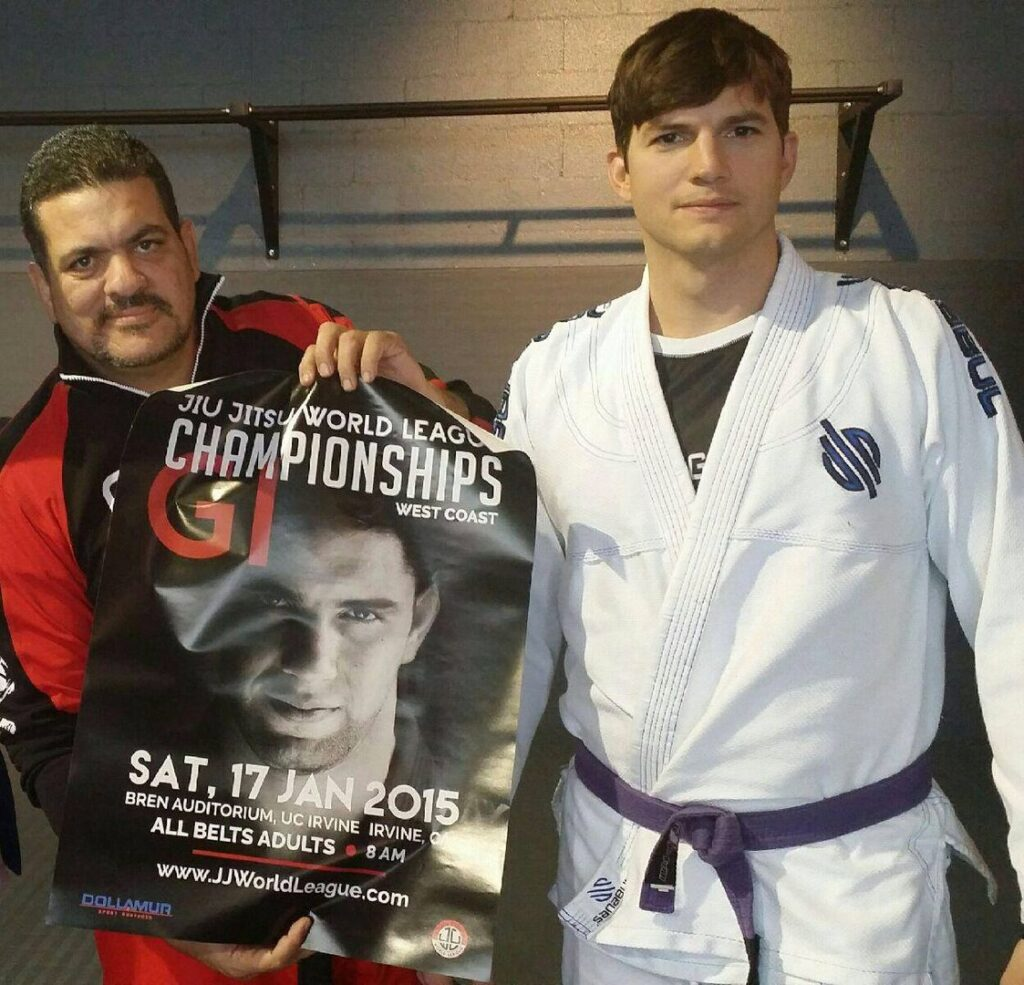 Ashton Kutcher was awarded his purple belt by Prof. Rigan Machado.