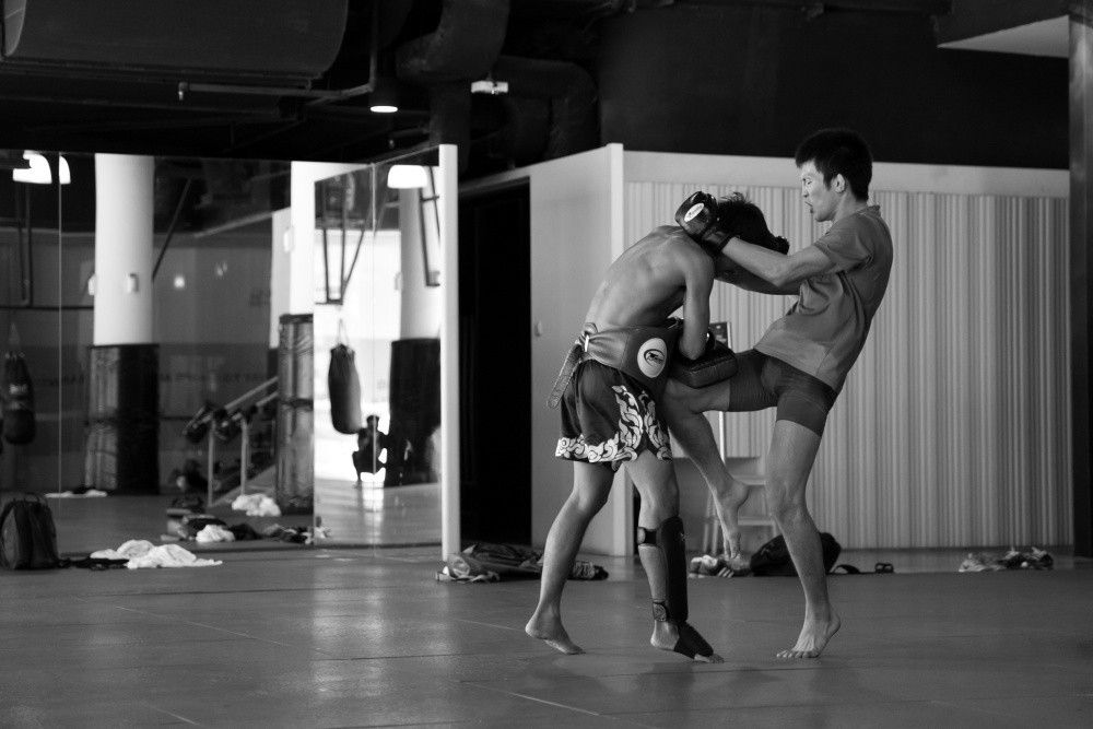 ONE Lightweight World Champion Shinya Aoki works on his Muay Thai at the Evolve MMA Fighters Program.