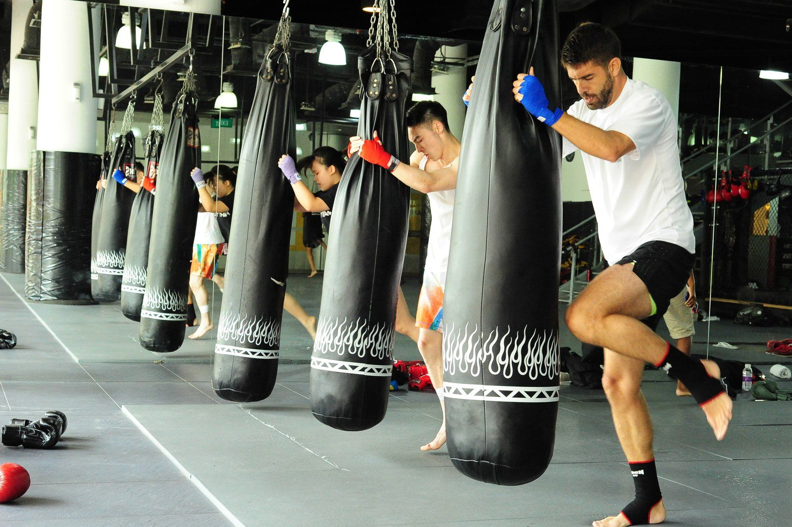 Training with a heavy bag improves your balance and coordination.