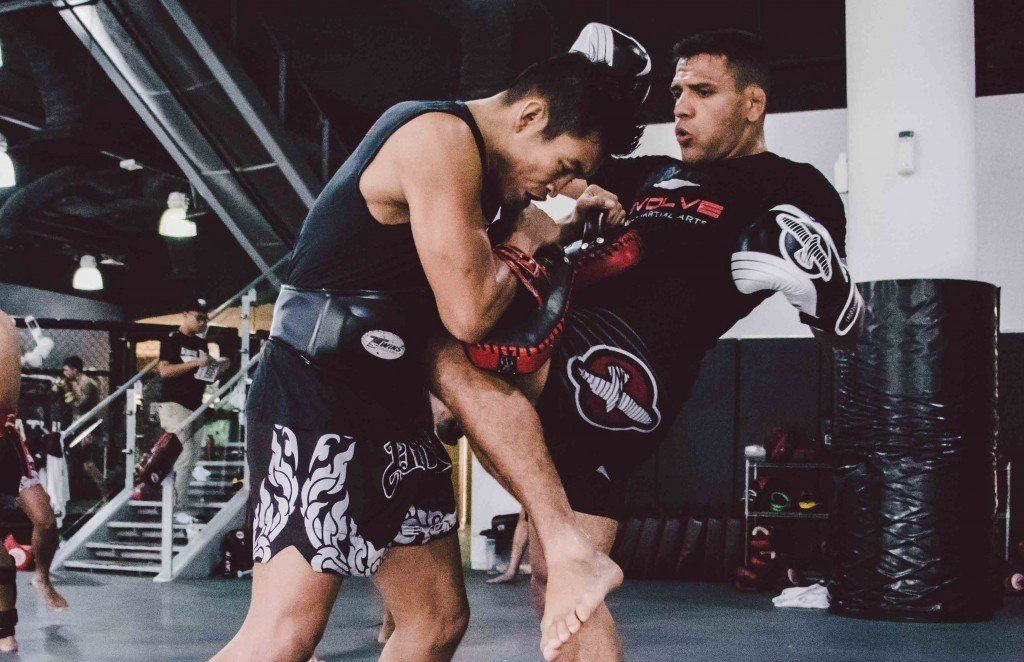 UFC Lightweight World Champion Rafael Dos Anjos practices his Muay Thai with multiple-time Muay Thai World Champion Petchboonchu FA Group.