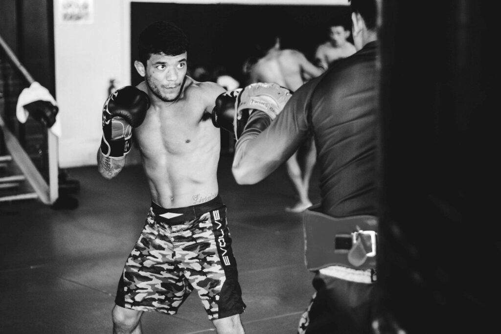 BJJ World Champion and ONE Superstar Alex Silva works on his striking at the Evolve MMA Fighters Program.