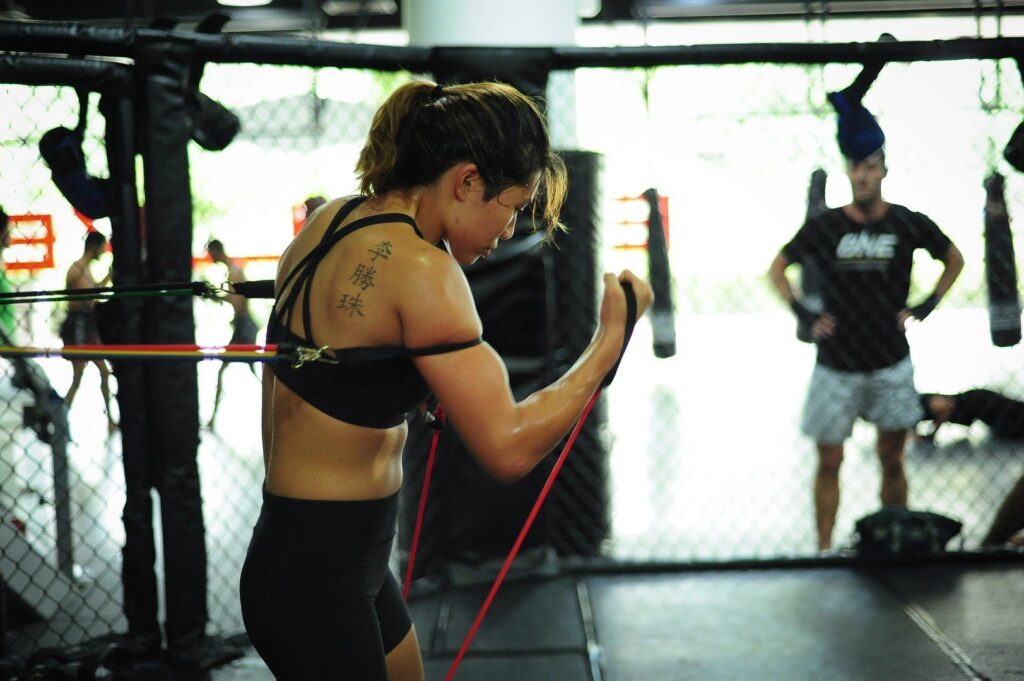 ONE Atomweight World Champion Angela Lee at the Evolve Fighters Program.