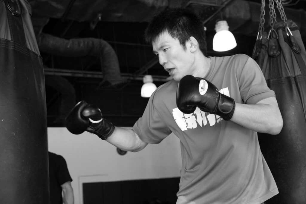 ONE Lightweight World Champion Shinya Aoki works on his striking at the Fighters Prorgam at Evolve MMA.