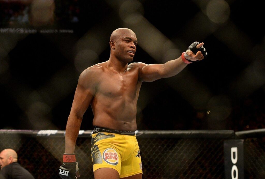 Jul. 7, 2012; Las Vegas, NV, USA; UFC fighter Anderson Silva celebrates after defeating Chael Sonnen (not pictured) during a middleweight bout in UFC 148 at the MGM Grand Garden Arena. Mandatory Credit: Mark J. Rebilas-USA TODAY Sports