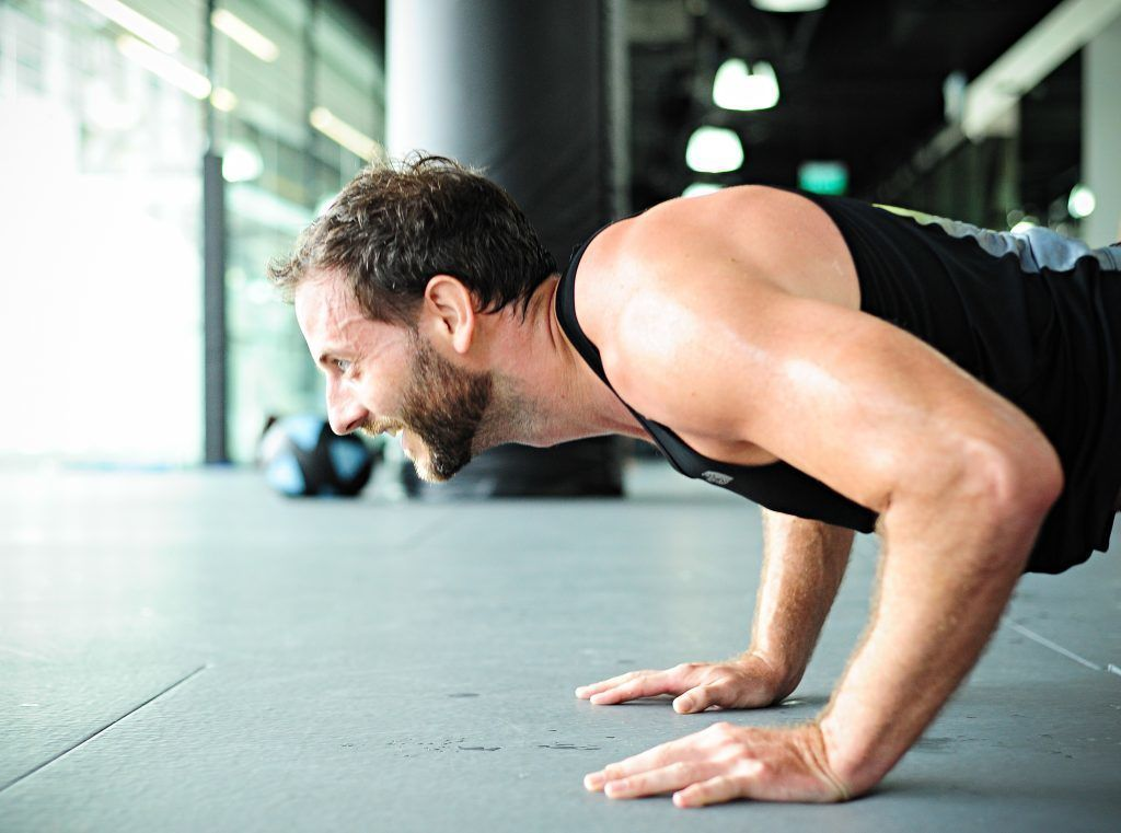 Push-ups builds optimal strength in the forearms, shoulders, chest.