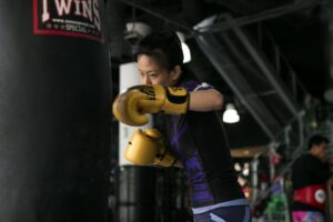 Training with a heavy bag improves your coordination and technique.