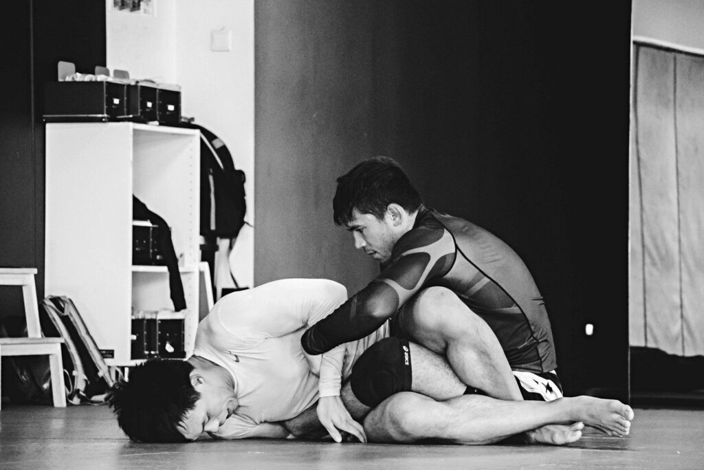 BJJ World Champion and ONE Superstar Bruno Pucci works on his escape with Evolve Fight Team teammate Eddie Ng.