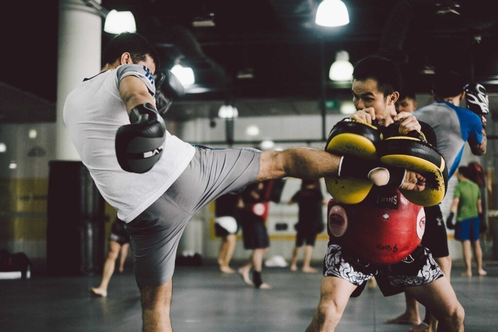 The roundhouse kick is a fundamental strike in Muay Thai.