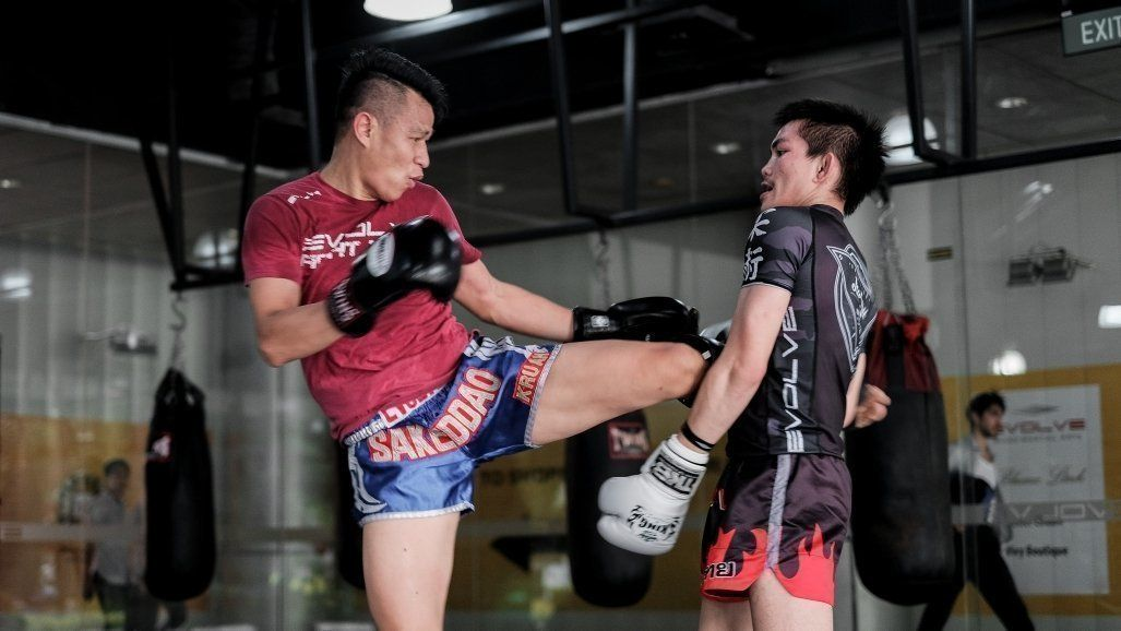 two muay thai fighters sparring