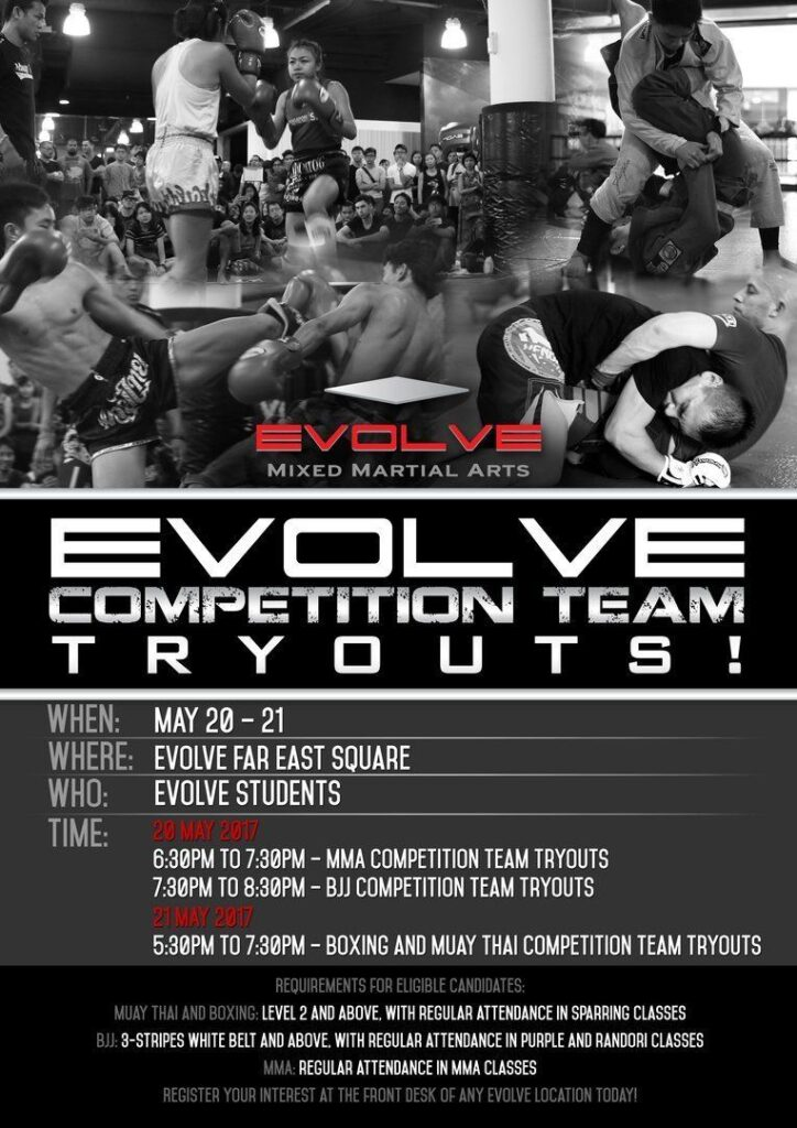 The Evolve Competition Team Tryouts poster