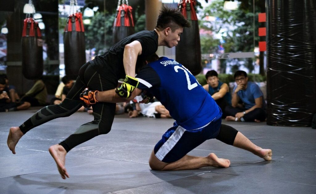 Two MMA fighters competing.