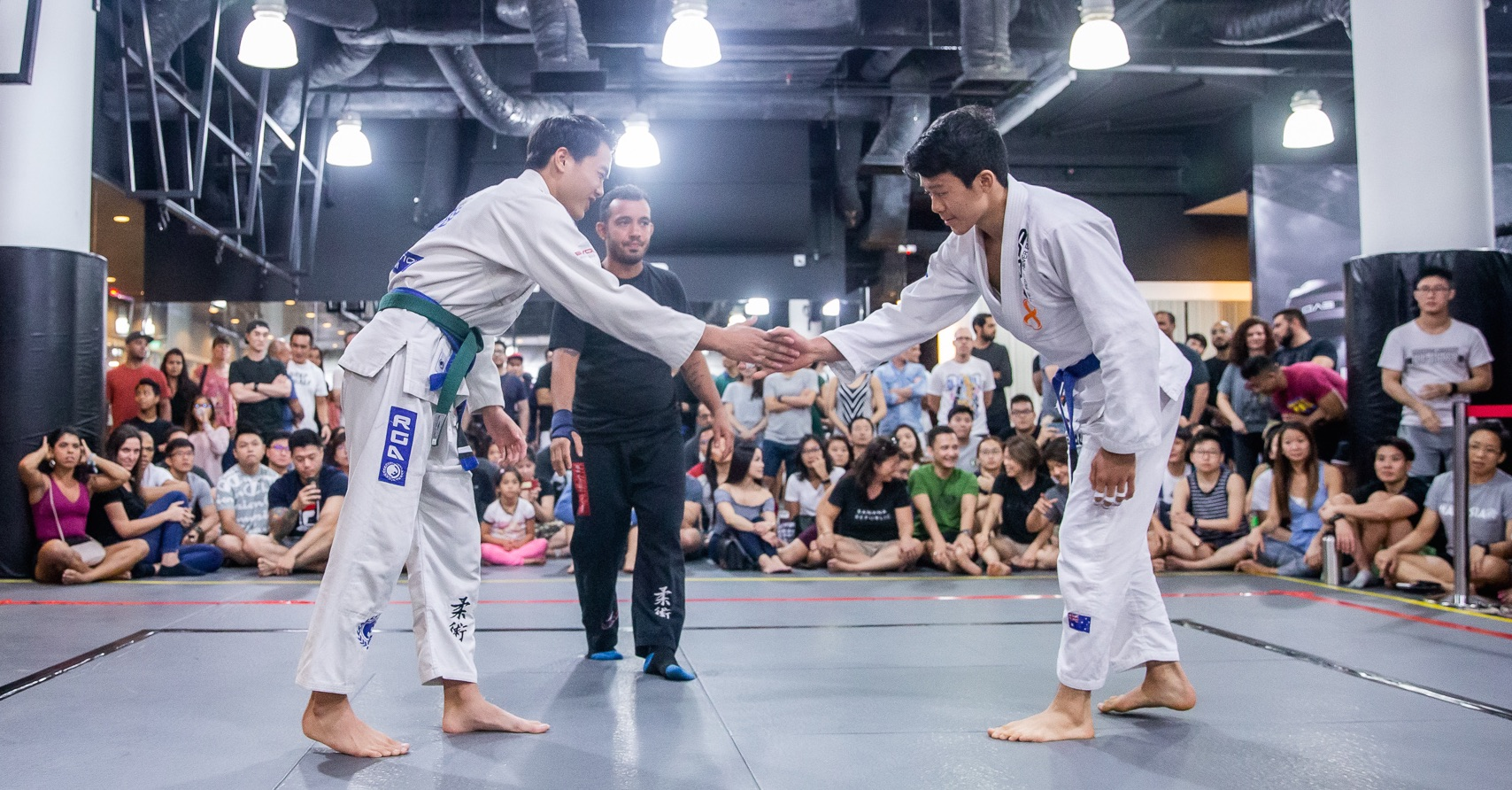 two BJJ competitors shaking hands