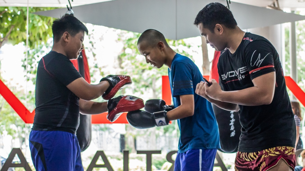 boxing uppercut pad work