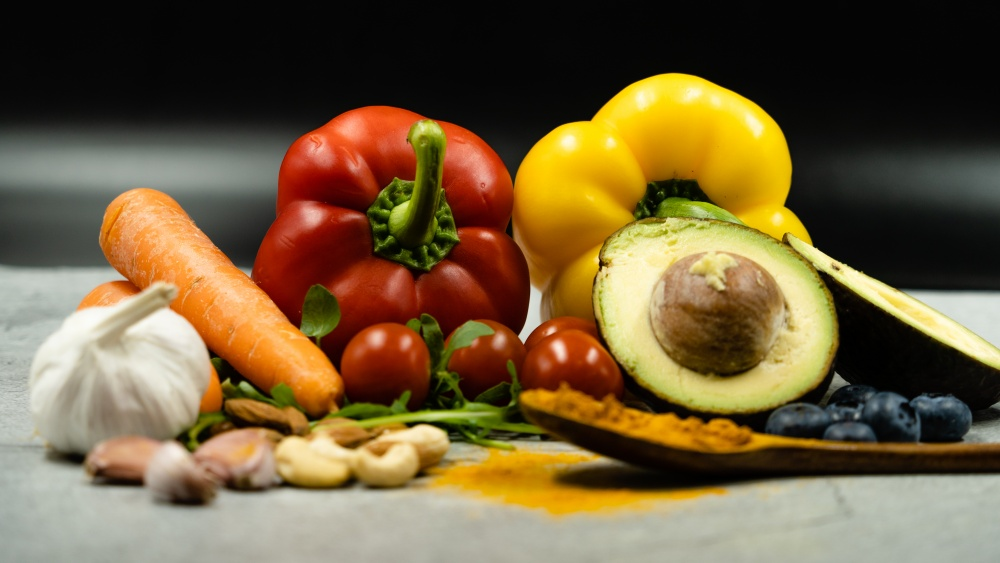 healthy colorful food and fruits